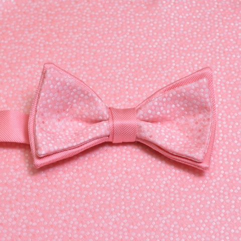 Candy Pink Mosaic Bow Tie and Pocket Square