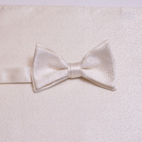 Ivory Mosaic Bow Tie and Pocket Square