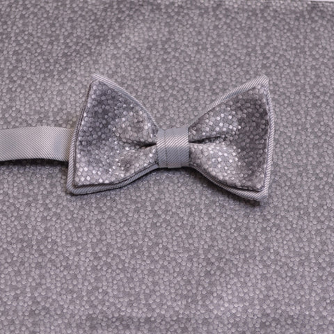 Platinum Mosaic Bow Tie and Pocket Square