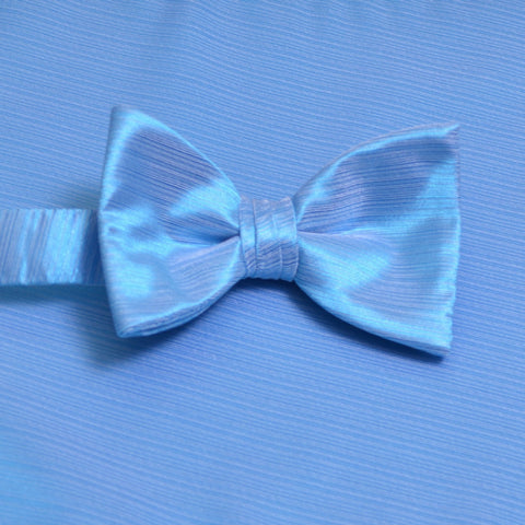 Blue Ice Horizontal Bow Tie with Matching Pocket Square