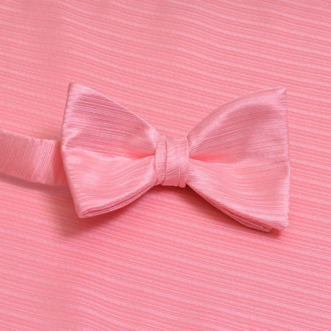 Candy Pink Horizontal Bow Tie with Matching Pocket Square