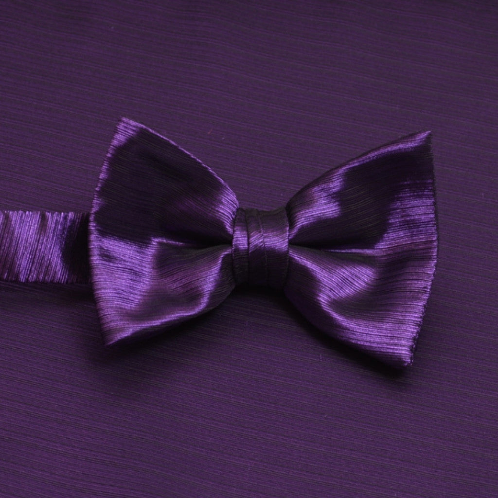 Purple Horizontal Bow Tie with Matching Pocket Square
