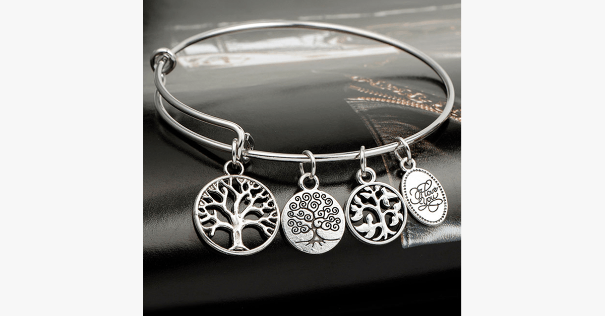 Tree of Life Enchanting Charm Bangle- Silver Color Stainless Steel Bangle for a Modern Minimalist Look