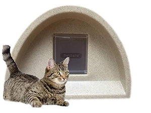 Cosy Cages Ltd New Year Sale Outdoor cat shelter/cat kennel with Square Flap sandstone