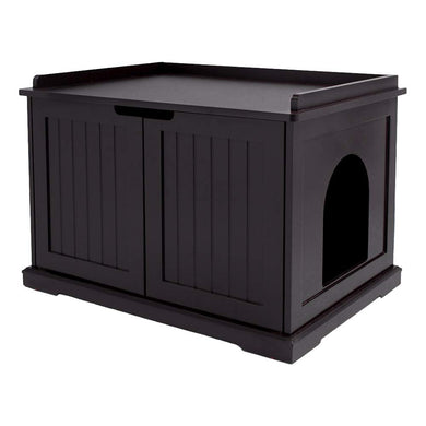 Unipaws Cat Litter Box  Litter Tray Cover, Washroom Storage Bench, Indoor Cat House, Sturdy Wooden Structure Furniture, Fit Most of Litter Box