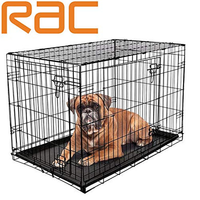 Dog Puppy Cage Folding 2 Door Crate with Plastic Tray Large 36-inch Black (Large)