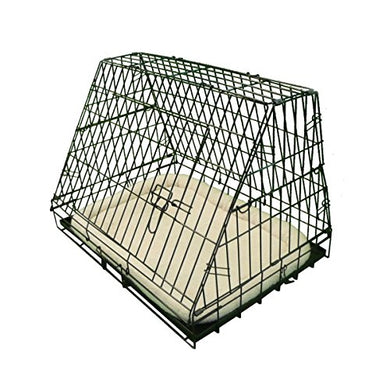 Ellie-Bo Deluxe Sloping Puppy Cage Medium 30 inch Black Folding Dog Crate with Non-Chew Metal Tray, Fleece and Slanted Front For Car