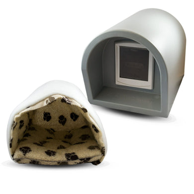 Mr Snugs KatDen Outdoor Cat Kennel/Shelter - Light Grey (Various Options) - Kennel, Door & Liner/Mattress Combo
