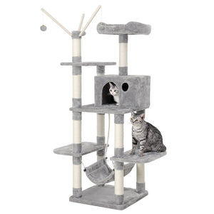 FEANDREA Cat Tree Cat Scratcher Activity Centres Scratching Post with a hammock Light Grey PCT86W