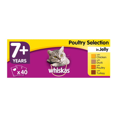 Whiskas 7+, Wet Food for Senior Cats, Poultry Selection in Jelly, 40 x 100 g