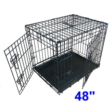 Ellie-Bo Dog Cage Folding 2 Door Crate with Non-Chew Metal Tray XXL 48-inch Black