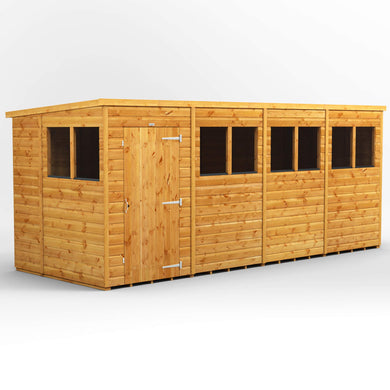 POWER | 16x6 Pent Wooden Garden Shed | Size 16 x 6 | Super Fast 2-3 Day Delivery