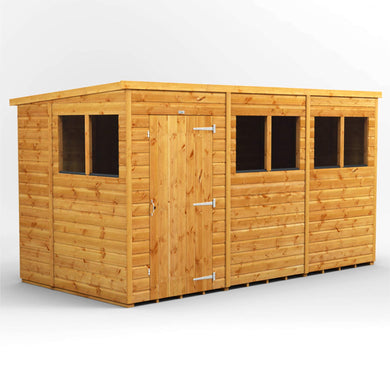 POWER | 12x6 Pent Wooden Garden Shed | Size 12 x 6 | Super Fast 2-3 Day Delivery