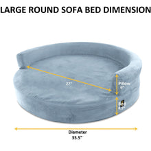Load image into Gallery viewer, KOPEKS Deluxe Orthopedic Memory Foam ROUND Sofa Lounge Dog Bed - Large - Grey