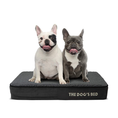 The Dog's Bed Orthopaedic Dog Bed Small Grey Plush 71x48cm, Premium Waterproof Memory Foam Dog Bed