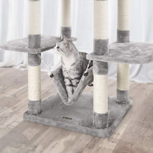 Load image into Gallery viewer, FEANDREA Cat Tree Cat Scratcher Activity Centres Scratching Post with a hammock Light Grey PCT86W