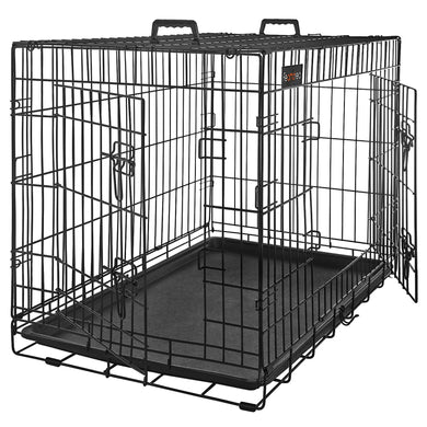 FEANDREA Dog Puppy Cage Folding Metal Pet Carrier 2 Doors Dog Crate with Tray Black 48