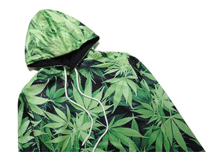 Fashion 3D Hoodies Men Unique Green Leaf 3D Print Gothic Terror Crewneck Thin Hooded Pullover Tops Summer Autumn BL-140 - TheUwatch