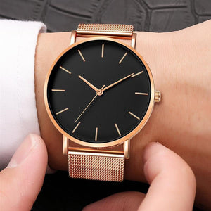The Minimalist - Rose Gold & Black - TheUwatch