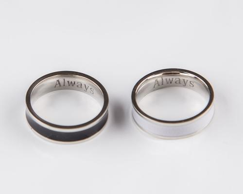 Couple Rings Black and White Personalized Couple - TheUwatch