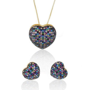 SUNSLL Gold Coppe Cubic Zirconia Fashion Earrings/Necklace Jewelry Set - TheUwatch