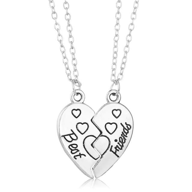Couple Heart Clock Key Pendant Necklace - TheUwatch
