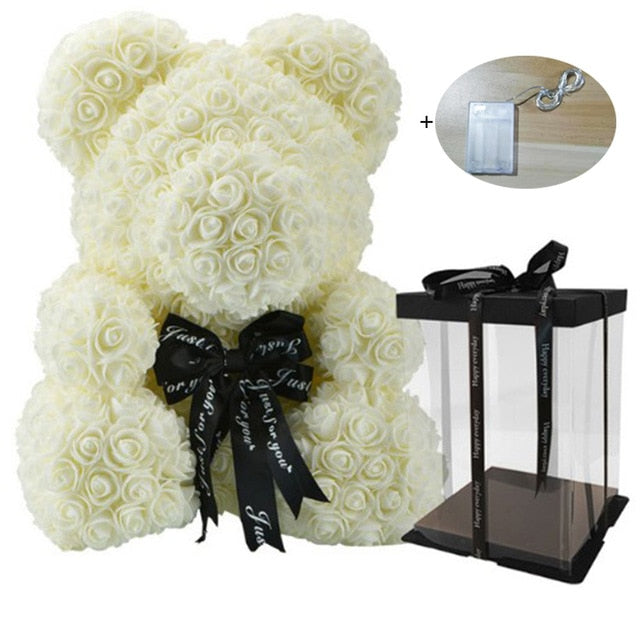 40cm Soap Foam Rose Bear with Led light and Gift Box - TheUwatch