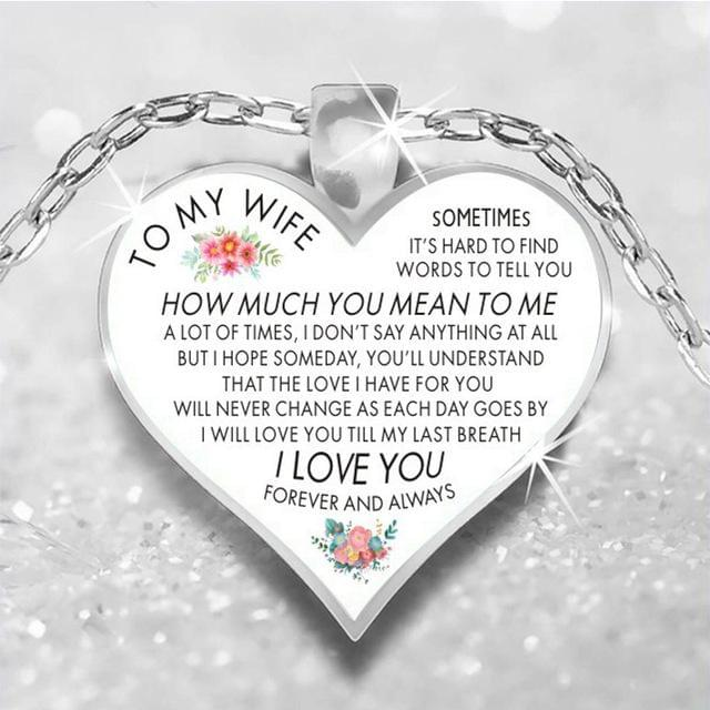 To My Daughter Love Heart Necklace Pendant Necklaces Silver Chain For My Daughter My Wife Women Girls Jewelry Family Gifts - TheUwatch