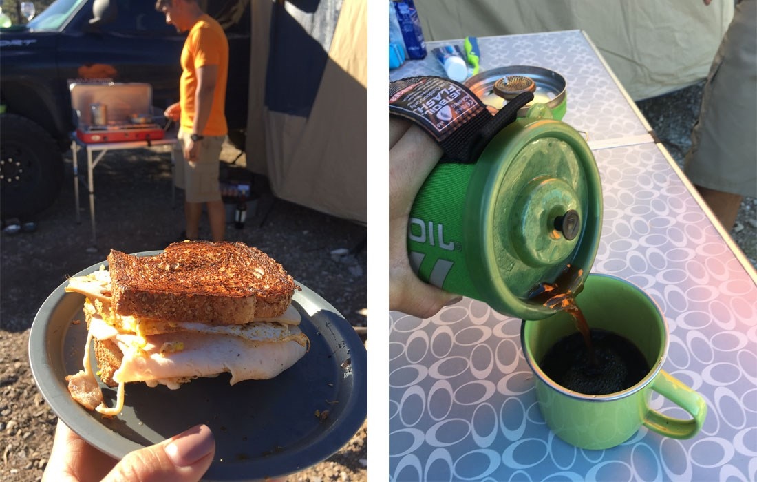 Bike camping breakfast