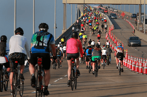 CYCLISTS RIDE OVER SAN DIEGO'S CORONADO BRIDGE