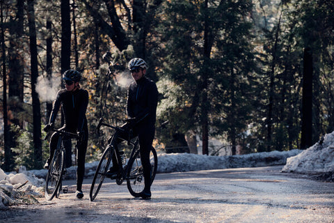 CYCLISTS IN COLD WEATHER, BREATH VISIBLE