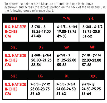 Fly Racing Default Helmet sizing chart