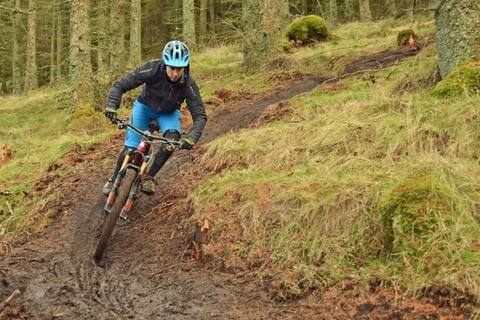 MOUNTAIN BIKER RIDING THROUGH THE FOREST IN COLD WEATHER