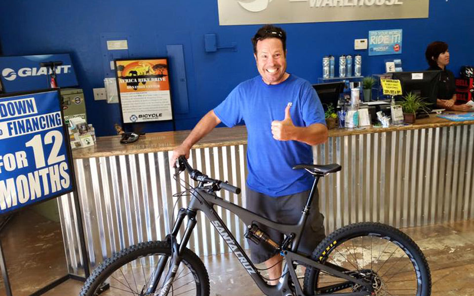 Eric came in to pick up a Trance 3 for his wife and decide to leave with a Santa Cruz for himself