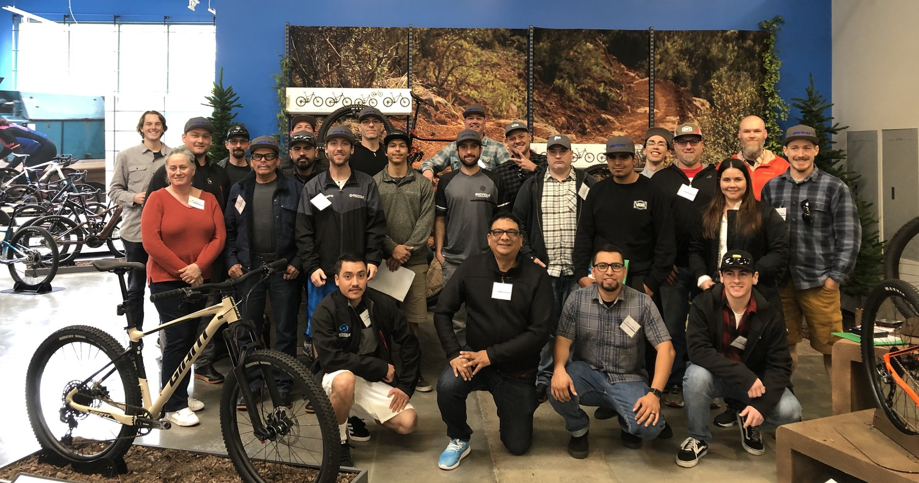 bicycle warehouse group photo at giant