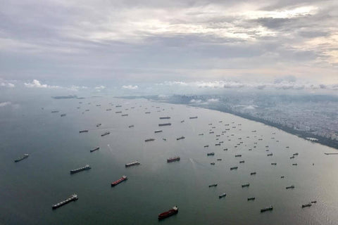 SHIPS STUCK WAITING TO ENTER PORT