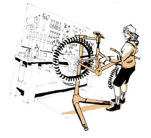 ILLUSTRATION OF MECHANIC WRENCHING ON BIKE IN WORK STAND