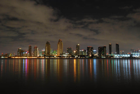SAN DIEGO SKYLINE AT NIGHT FROM CENTENNIAL PARK
