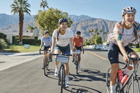 WOMEN CYCLING IN THE SUBURBS