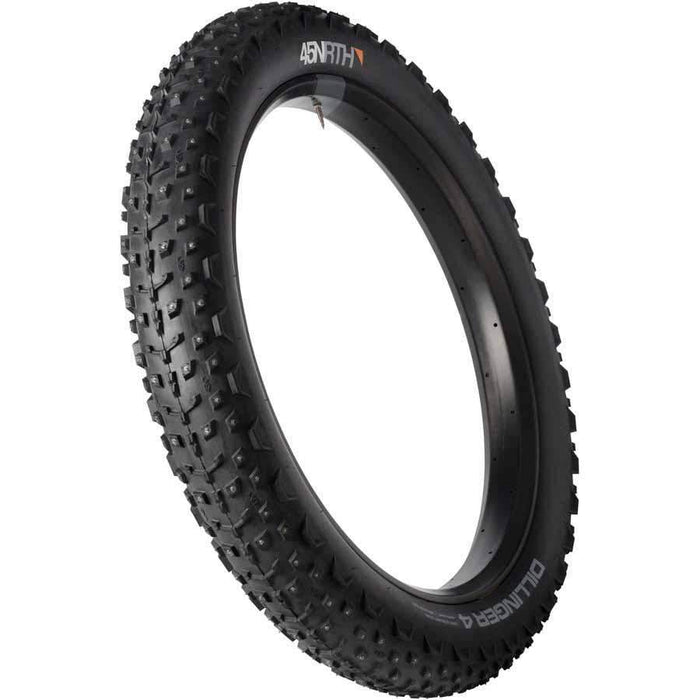 "Dillinger 4 Studded Fat Bike Tire: 26 x 4.0"", 240 concave studs, Tubeless Ready Folding 120tpi"