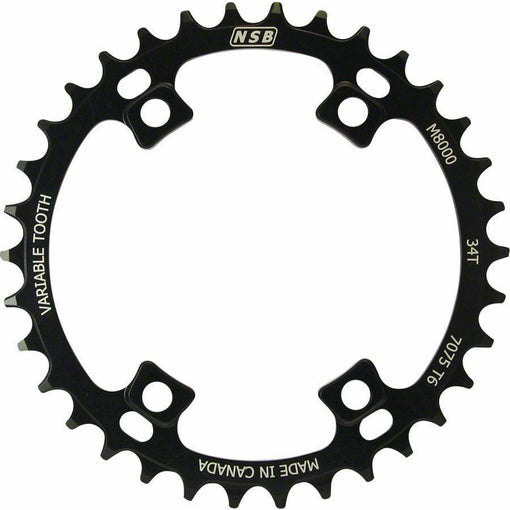 North Shore Billet  Variable Tooth Chainring: 34T, Shimano XT 8000 96 Asymmetric BCD, Black
