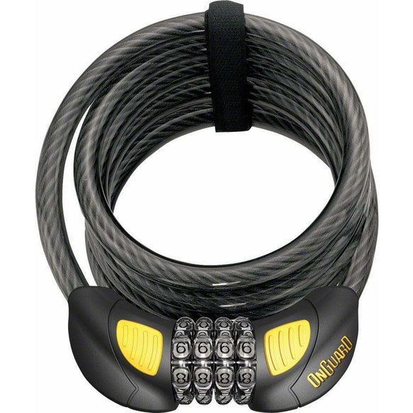 OnGuard Doberman Lighted Combo Bike Cable Lock: 6' x 12 mm, Gray/Black/Yellow