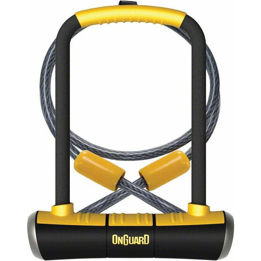 "OnGuard  PitBull Series U-Lock - 4.5 x 9"", Keyed, Black/Yellow, Includes cable and bracket"