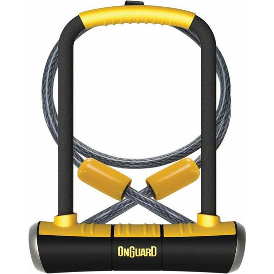 "OnGuard PitBull Series Bike U-Lock - 4.5 x 9"", Keyed, Black/Yellow, Includes cable and bracket"