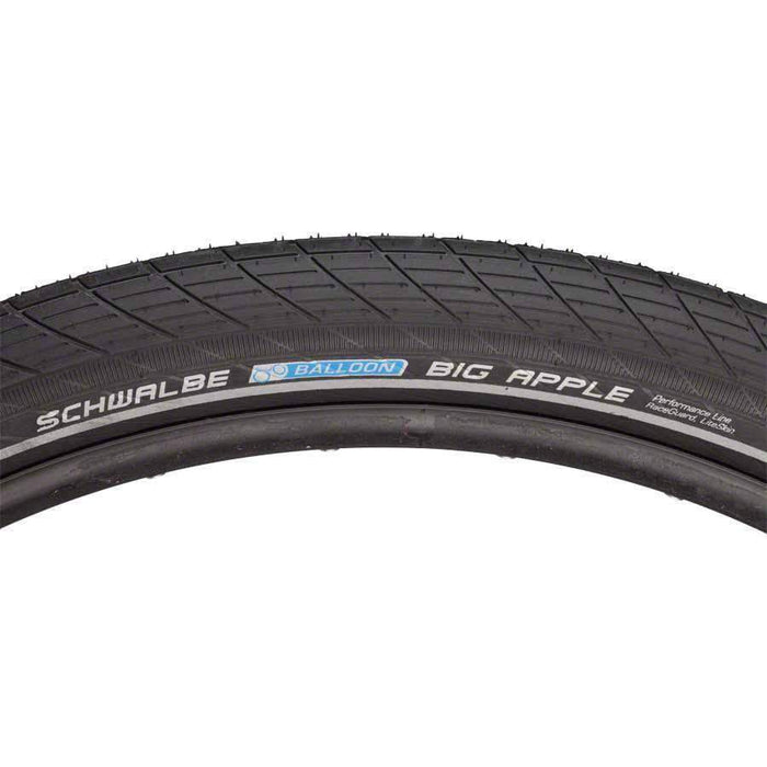 "Schwalbe Big Apple Bike Tire: 29 x 2.35"", Wire Bead, Performance Line, Endurance Compound, RaceGuard, Black/Reflect"