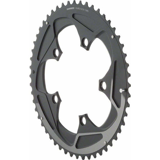 SRAM  52 Tooth 11-Speed 110mm BCD Yaw Chainring Black with Silver Trim, Use with 36 or 38T