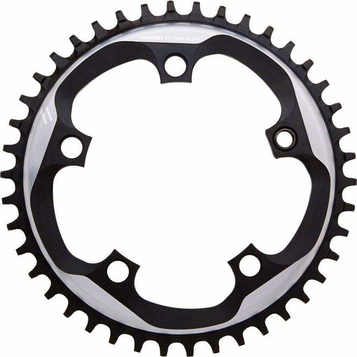 SRAM  X-Sync Chainring 42 Teeth 110mm BCD Polished Grey/Matte Black, Includes Bolt and Nut for Hidden Position Hole