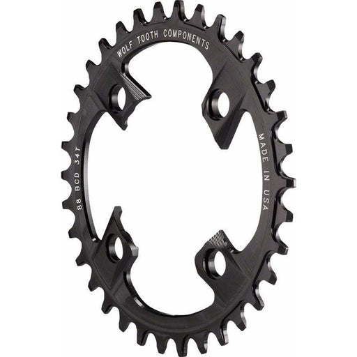 Wolf Tooth  88 BCD Chainring - 38t, 88 BCD, 4-Bolt, Drop-Stop, For Shimano XTR M985, Black