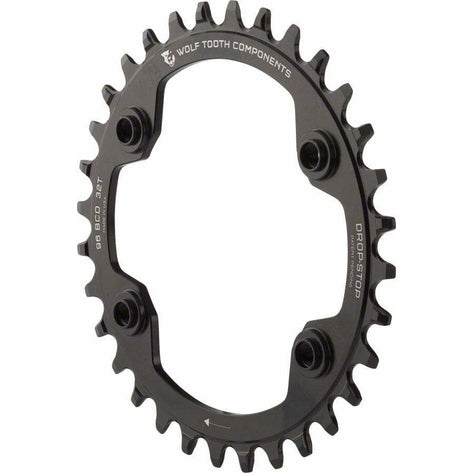 Wolf Tooth 96 BCD Chainring - 30t, 96 Asymmetric BCD, 4-Bolt, Drop-Stop, For Shimano XTR M9000 and M9020 Cranks, Black