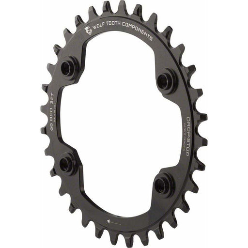 Wolf Tooth  96 BCD Chainring - 34t, 96 Asymmetric BCD, 4-Bolt, Drop-Stop, For Shimano XTR M9000 and M9020 Cranks, Black